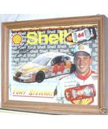 1998 TONY STEWART SIGNED SHELL NASCAR POSTCARD & DIECAST CARS IN DISPLAY... - $100.00