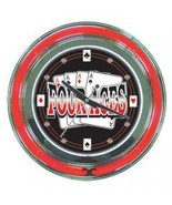 Four Aces Red n Black Neon Wall Clock  14 inch Diameter - $118.88