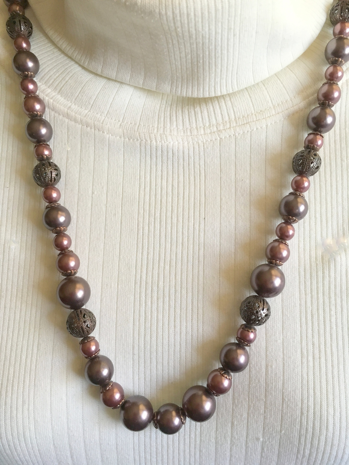 Mauve/Dark Gray Beaded Necklace, Vintage Necklace, Gift Idea 4 Her, Moms Day