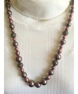 Mauve/Dark Gray Beaded Necklace, Vintage Neckla... - $15.00