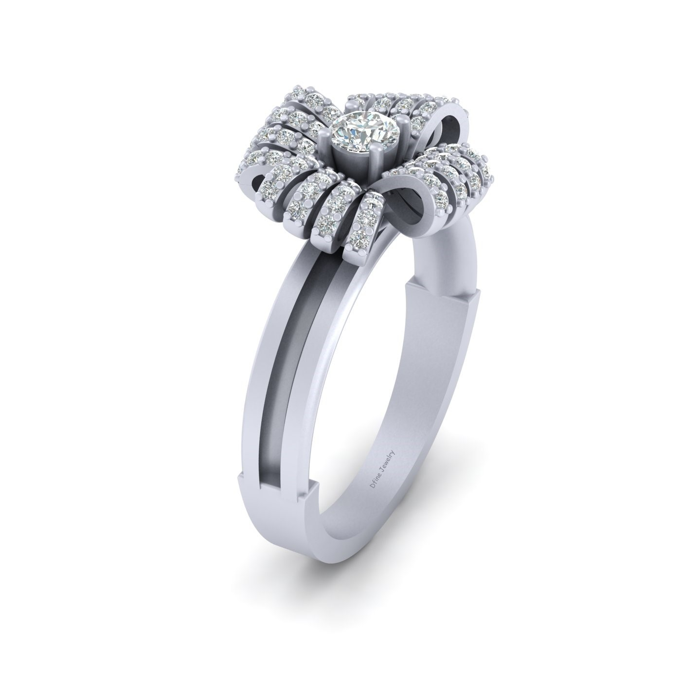 Ribbon Bow Ring In Solid 14k White Gold Diamond Bow Knot Ring For Womens Jewelry - $959.99