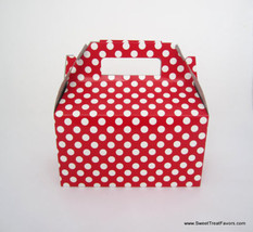 RED WHITE POLKA Party Supplies BOXES Birthday Decoration GABLE Loots x12... - $12.82