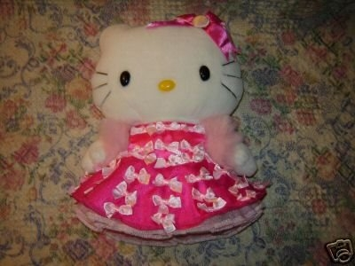 Hello Kitty Plush Doll Fancy Pink Dress Fake Fur Boa