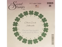 Sweet Stamps Clover Circle Silhouette Rubber Cling Stamp #2003H