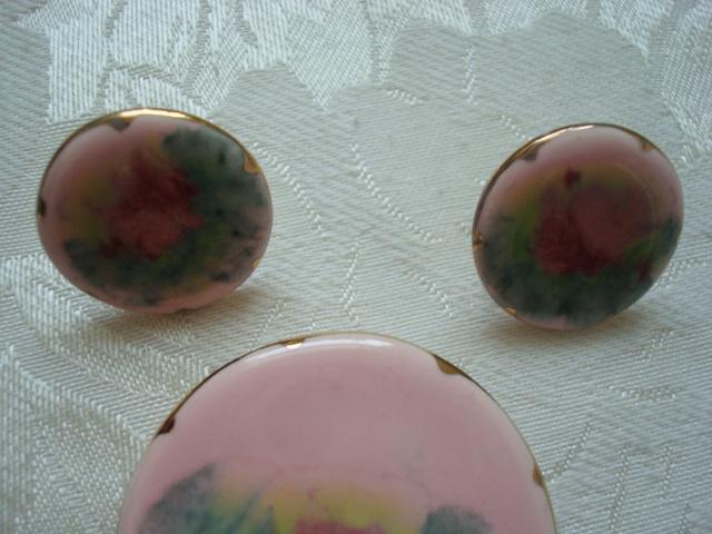Vintage Pink Ceramic Pin ~ Brooch and Earrings ~ Floral Desi