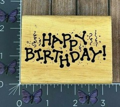 Stampcraft Happy Birthday Confetti Rubber Stamp 2004 Streamers Wood #X113 - $3.22