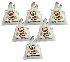6 Merry Christmas Stocking Filler Embroidered White Organza Semi Sheer D... - $19.99