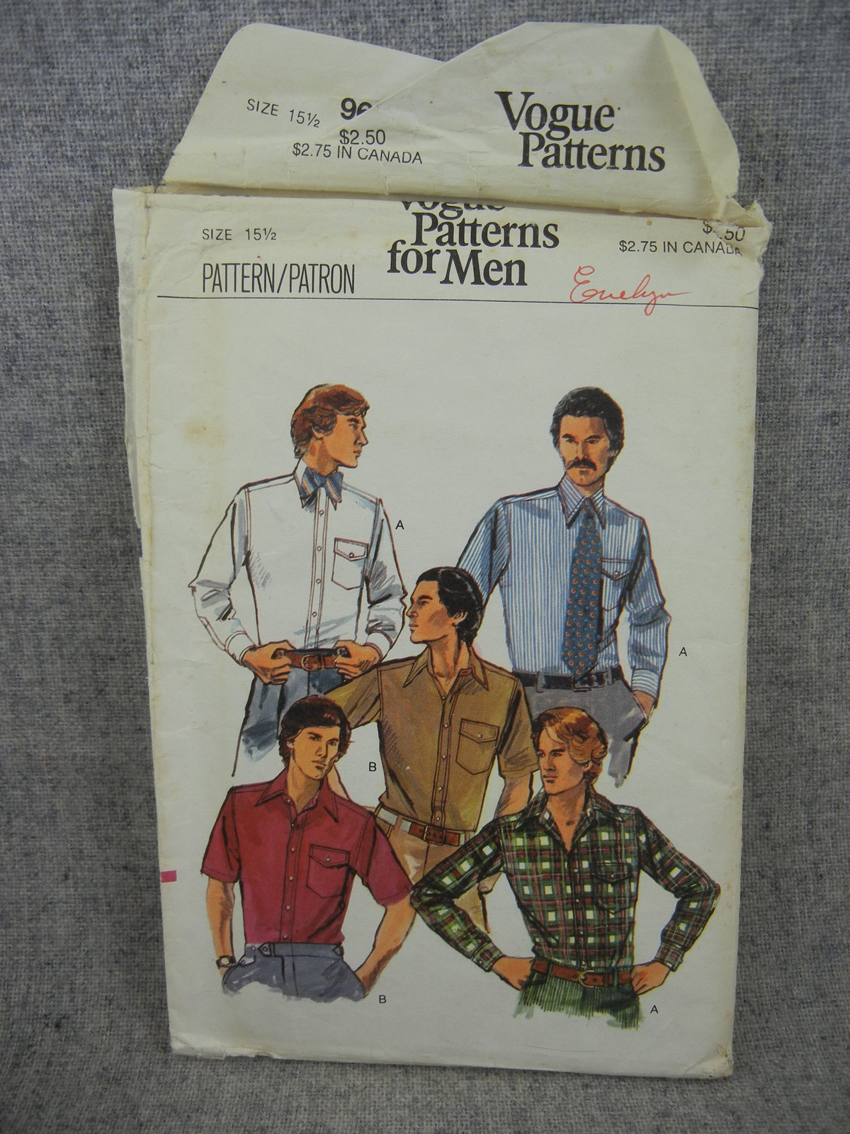 Primary image for  Mens size 15.5  Button Shirt with pocket  Vogue 9617  Vintage 1976 UC FF