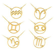 14K Polished Yellow Gold Zodiac Sign Necklce - $189.99+