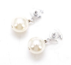 Authentic Chanel Classic Crystal CC Pearl Silver Dangle Drop  Earrings  image 3