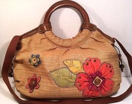 Fossil Straw Tan Fabric Large Shoulder Bag Flow... - $44.61
