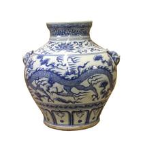 Chinese Blue White Porcelain Scenery Dragon Foo Dog Accent Vase cs3738 - $450.00