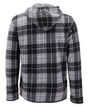 Men's Casual Flannel Zip Up Fleece Lined Plaid Sherpa Hoodie Lightweight Jacket image 15