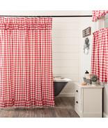 Annie Buffalo Red Check Ruffled Shower Curtain Vhc Brands Farmhouse   - $59.95