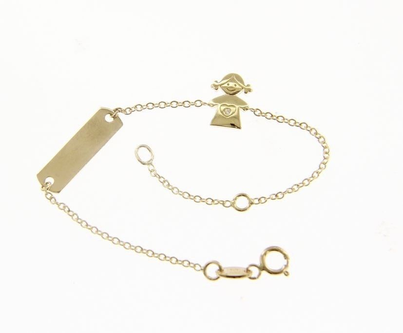 18 KT YELLOW GOLD BRACELET FOR KIDS WITH GIRL AND CUBIC ZIRCONIA MADE IN ITALY