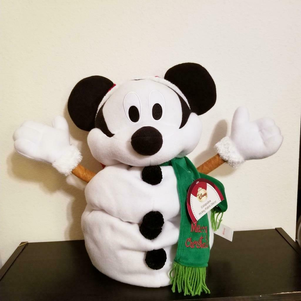"Mickey Mouse Christmas Greeter 24"" Collapsible Snowman Plush Decor Disney Rare"