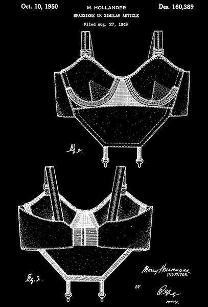 Primary image for 1950 - Brassiere - M. Hollander - Patent Art Poster