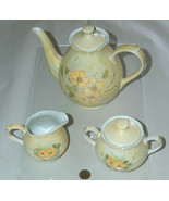 1980 Floral Hand Painted Ceramic Tea Coffee Set Pot Sugar & Cream Signed... - $49.48