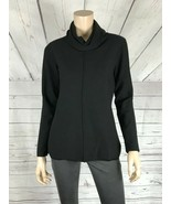 CALVIN KLEIN JEANS Rolled Neck Long Sleeve Seamed Front Black Sweater NWT S - $14.78