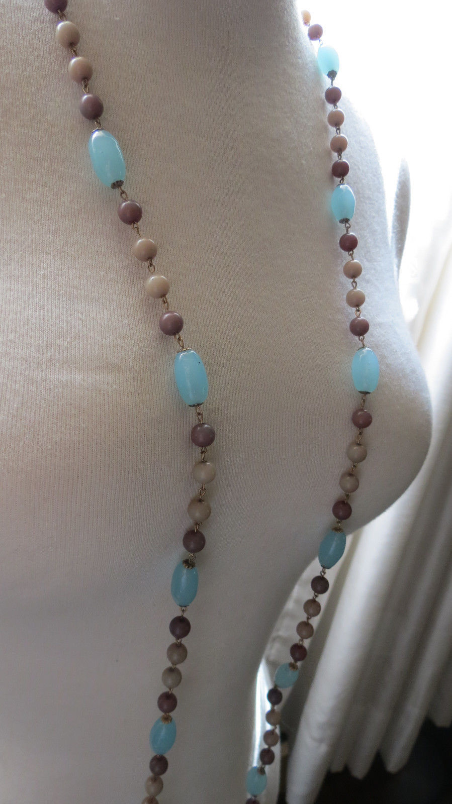 """VTG Long Beaded Necklace 60"""" Light Blue Glass Gray Gold Plated Caps Links Cute"""