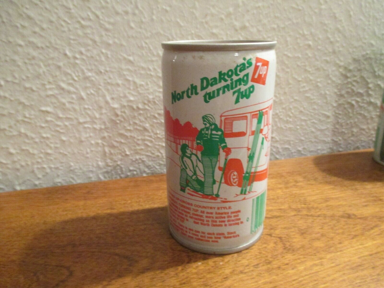 Primary image for North Dakota ND Turning 7up vintage pop soda metal can Cross Country Skiing