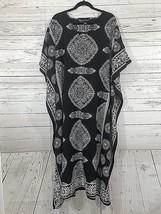Good Times Women's Kaftan Coverup One Size Black Beige Long Maxi - $22.14