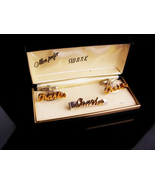 Personalized Charles Cufflinks set / Tieclip / Vintage Swank set / origi... - $175.00