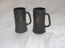 TWO PLAYBOY CLUB BLACK & GOLD FROSTY GLASS COFFEE MUGS, BEER STEIN CUP VTG 60's image 1