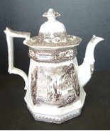 Antique Brown Transferware Teapot ** Pagodas Boat At Mooring - $123.49