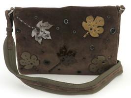 Authentic PRADA Dark Brown Khaki Suede Nylon Leaf Shoulder Bag Purse - $127.84