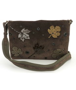 Authentic PRADA Dark Brown Khaki Suede Nylon Leaf Shoulder Bag Purse - $127.84
