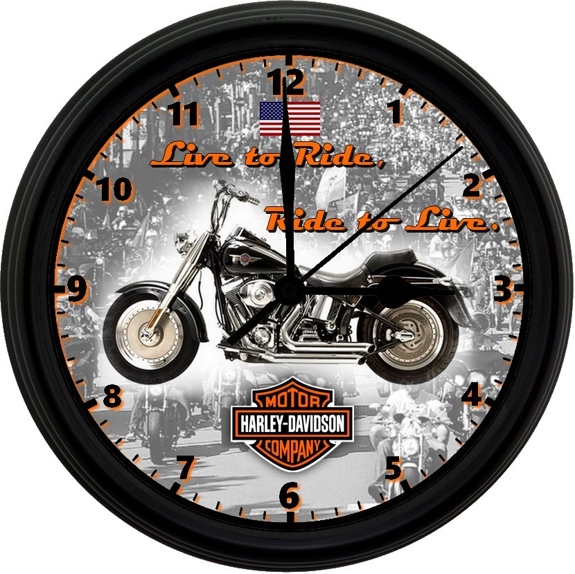 Primary image for HARLEY DAVIDSON 8in. Unique Homemade Wall Clock w/ Battery Included