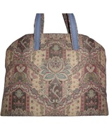 Mauve Carpet Bag, Country Blue Carpet Bag, Mauve Tapestry Extra Large Tote Bag - $239.00