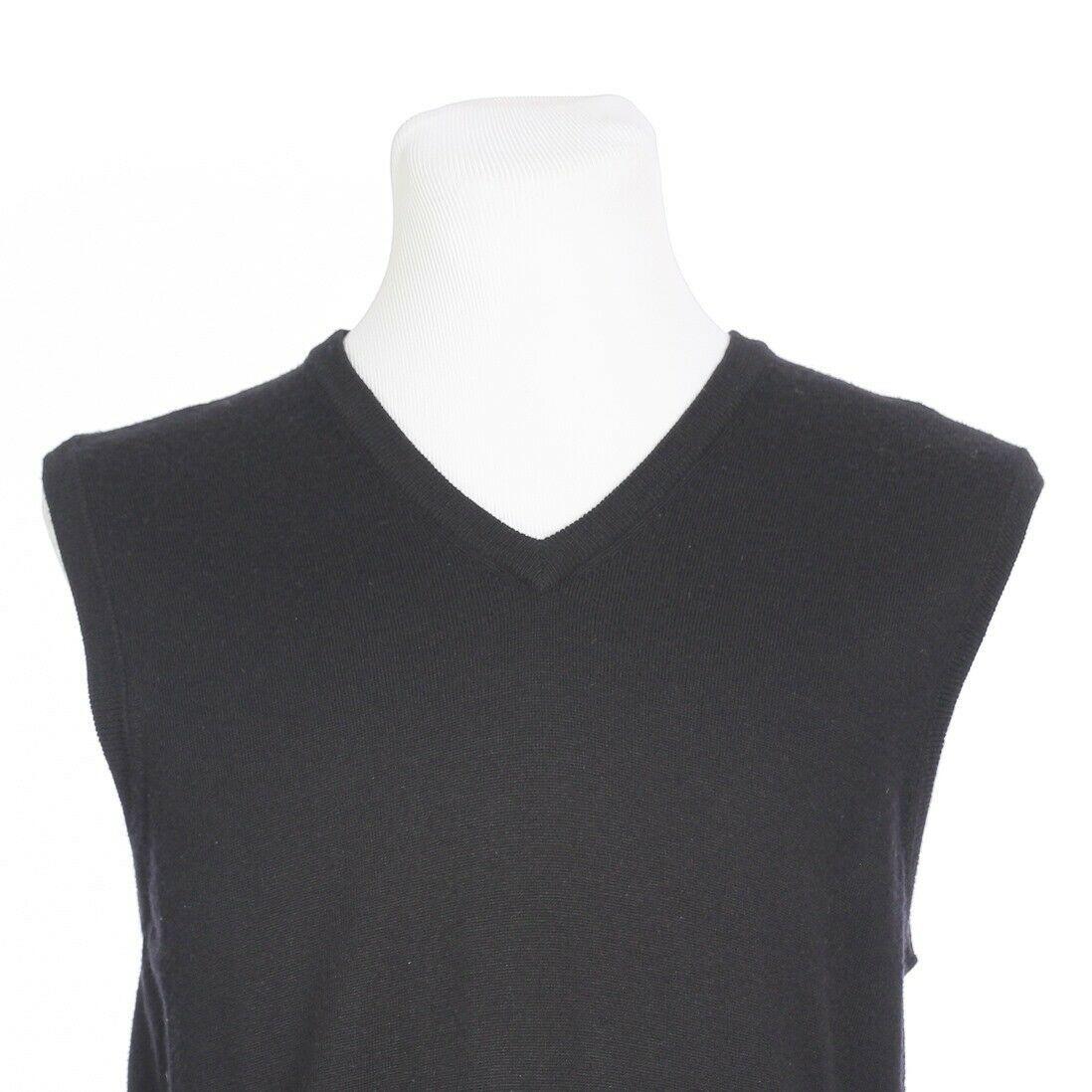 Brooks Brothers Extra Fine Merino Wool Solid Black Sweater Vest Mens Medium