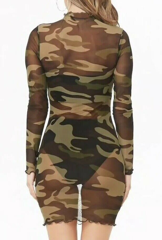 Forever 21 Transparent Mesh Camouflage Print Sexy Long Sleeved Dress Collar M image 3