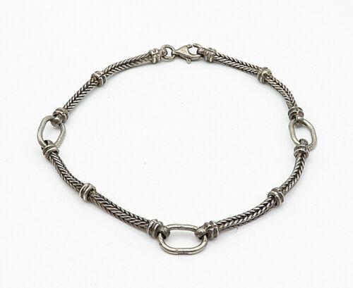 925 Sterling Silver - Vintage Dark Tone Wheat Link Chain Bracelet - B5512