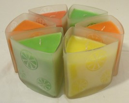 HD Designs Scented Candles Kaleidoscope Collection Qty 6 Citrus Frosted Glass - $22.80