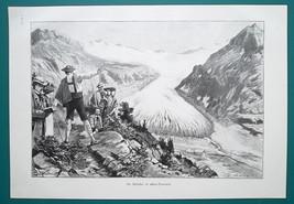 ALPS Glacier Tourists Visit - VICTORIAN Era Print - $13.49