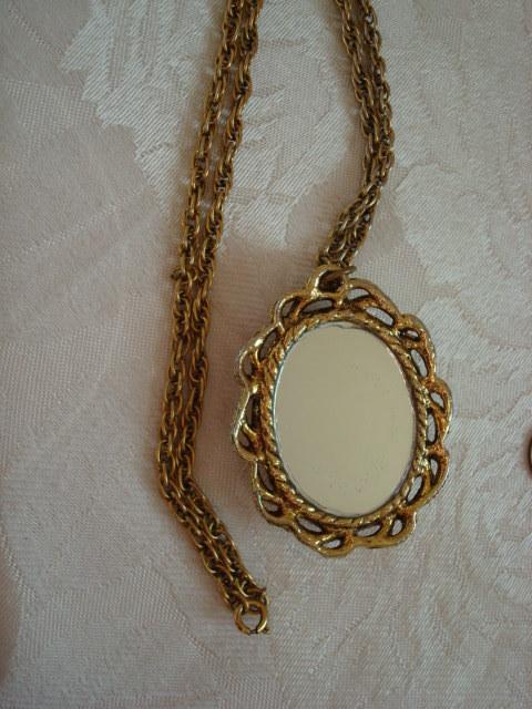 Vintage Brown Needle Point Pendant Necklace ~ Pink Rose ~ Mi