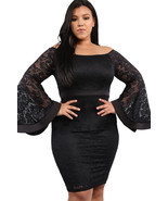 Black Plus Size Long Bell Sleeve Lace Dress  - $632,91 MXN