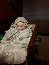 Dynasty Porcelain infant w/white long lace  gown and bonnet 10 inches - $24.74