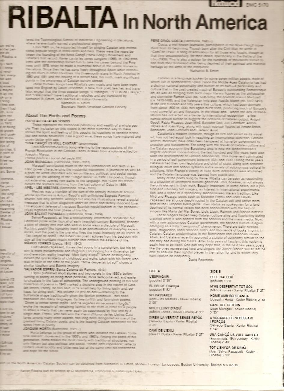LP--XAVIER RIBALTA     IN NORTH AMERICA