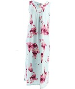 Beauty Sleep BedHead Cotton Stretch Floral Long Gown Map of World L NEW ... - $31.66
