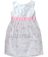 NWT Cute Dressy Sunday White Embroidered Easter Girl Pink Flower Dress - $26.99