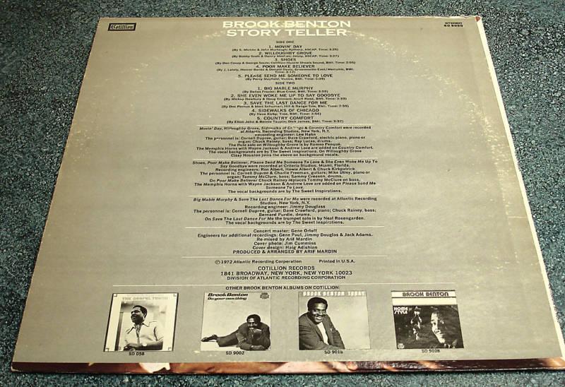 BROOK BENTON Cotillion Promo LP STORY TELLER