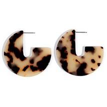 Artilady Acrylic Resin Hoop Earrings - Tortoise Shell Earrings for Women Boho Je - $9.17