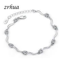 ZRHUA Elegant White/Purple Zircon Flower Silver Bracelets For Women Trendy Natur - $13.47