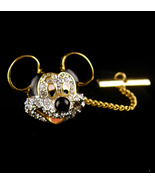 mouse enamel tie tack with chain - rhinestone mickey mouse pin - black a... - $75.00