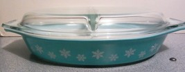 Vintage Pyrex  Divided Casserole Dish & Lid  snowflake pattern - $23.42