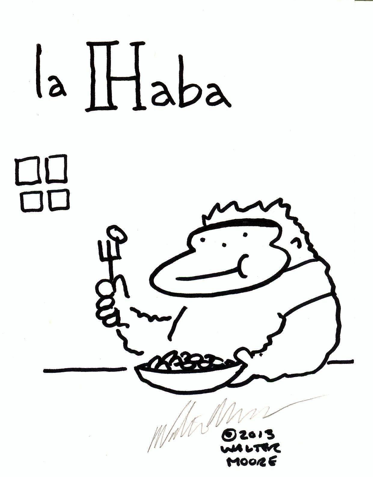 Spanish Apes: La Haba. Original Signed Cartoon by Walter Moore
